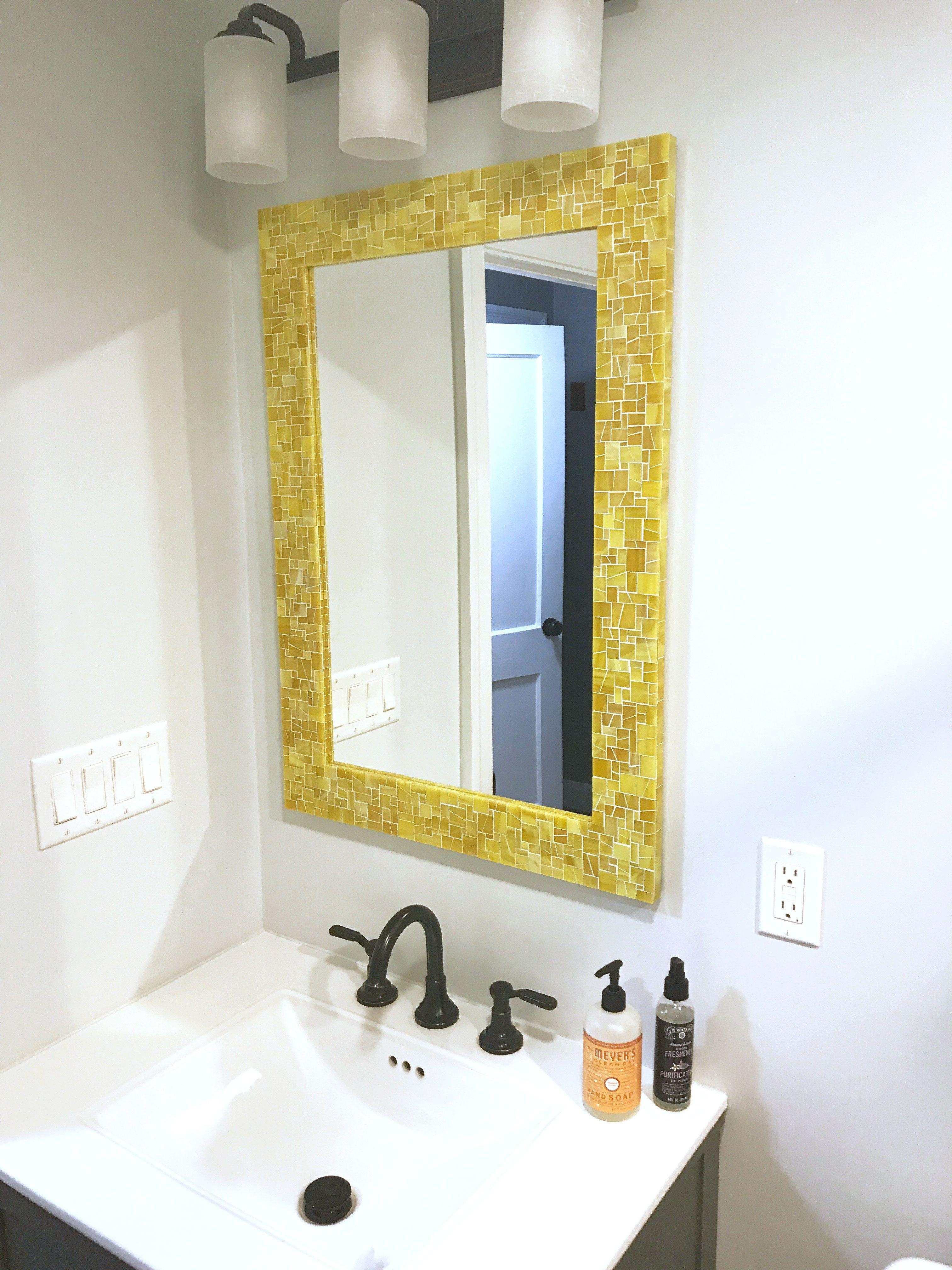 Mosaic Mirror Wall Mirror Yellow Bathroom Mirror In Etsy