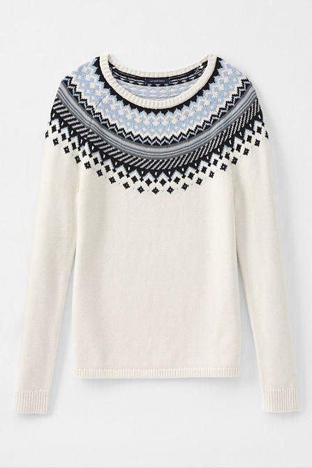 Women's Fair Isle Open Crewneck Sweater from Lands' End   I Wear ...