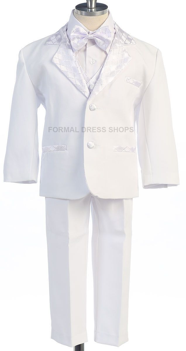 ring boys 5 piece white tuxedo kids christening attire toddlers