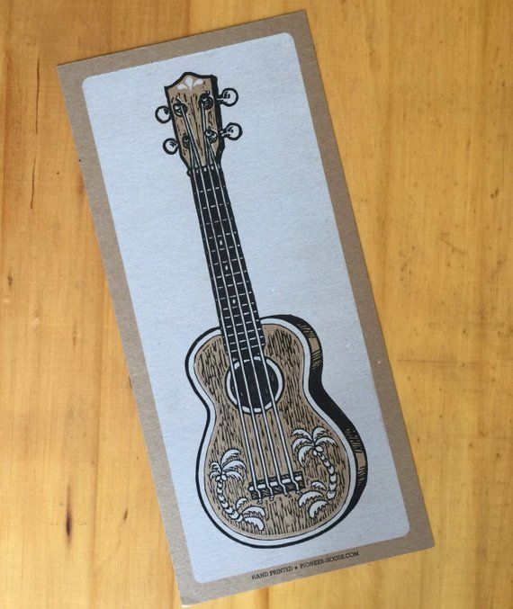 UKULELE Poster Music Print Hand Printed Letterpress Music art