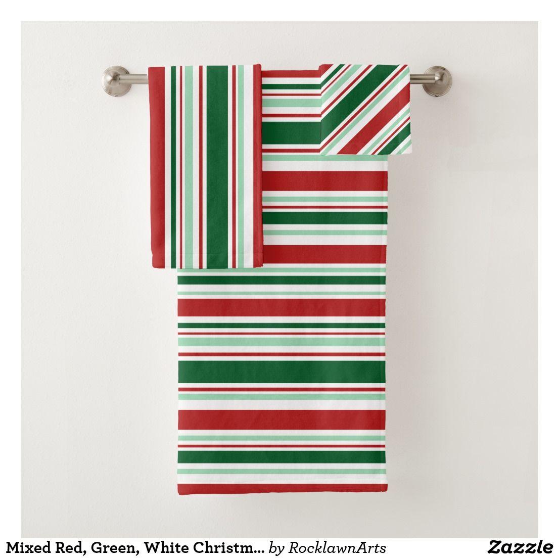 Mixed Red Green White Christmas Stripes Bath Towel Set Zazzle