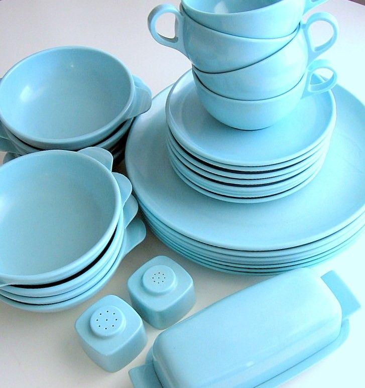 vintage collection of aqua blue Melmac dinnerware by retrogroovie & vintage collection of aqua blue Melmac dinnerware by retrogroovie ...