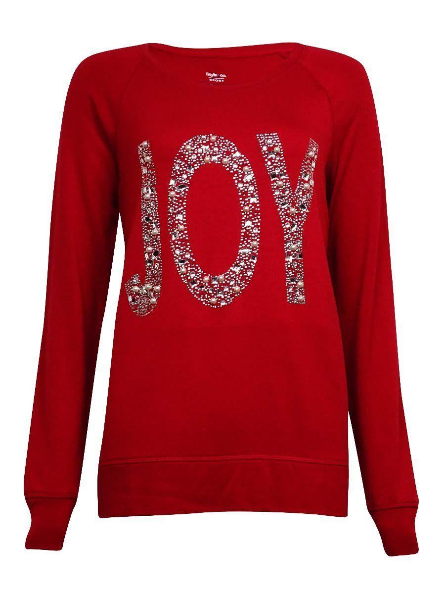 Style & Co Women's Cozy Comfort Joy Embellished Sweater