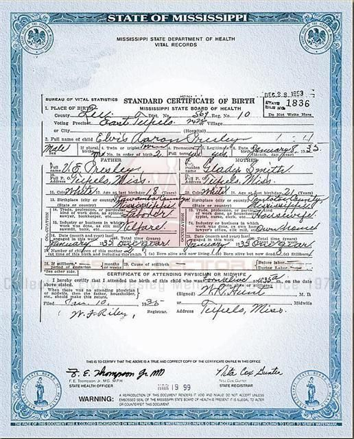 Born Elvis Aaron Presley, 8 January 1935, Tupelo, Mississippi at 4 - copy certificate picture