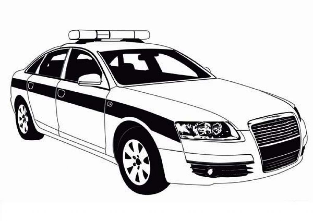 Police Car Patrol Picture To Color For Kids