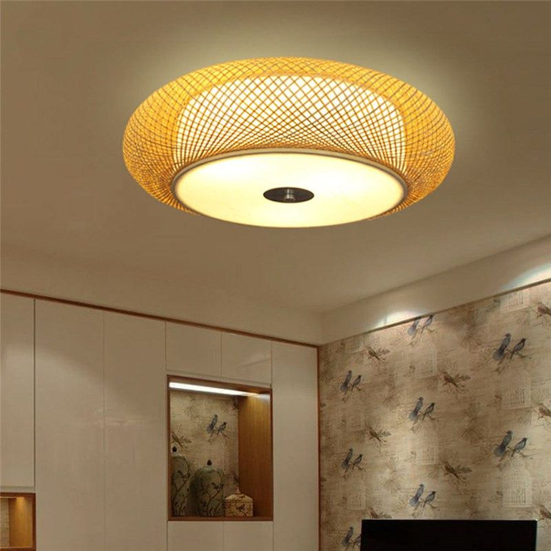 Modern Bamboo Flush Mount Chinese Woven Ceiling Light Living Room