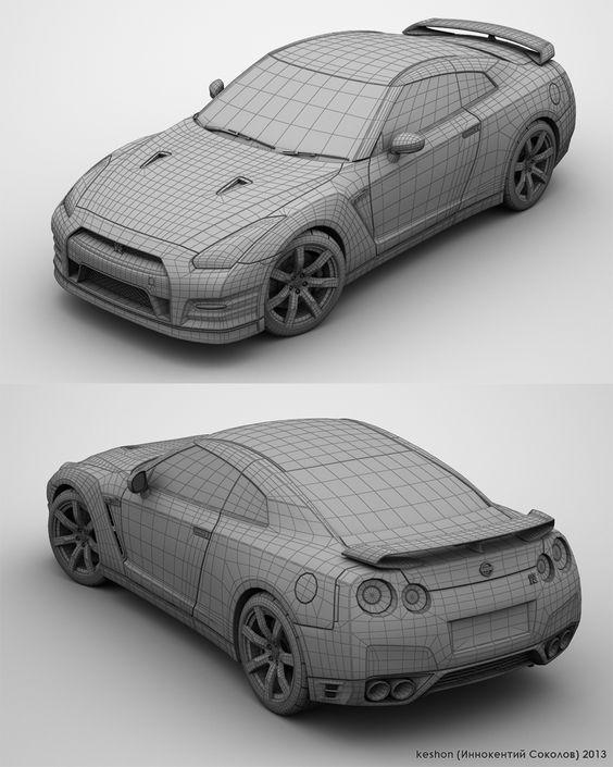 Nissan Gt R R35 Wireframe By Keshon83 Topology Car Car Cg