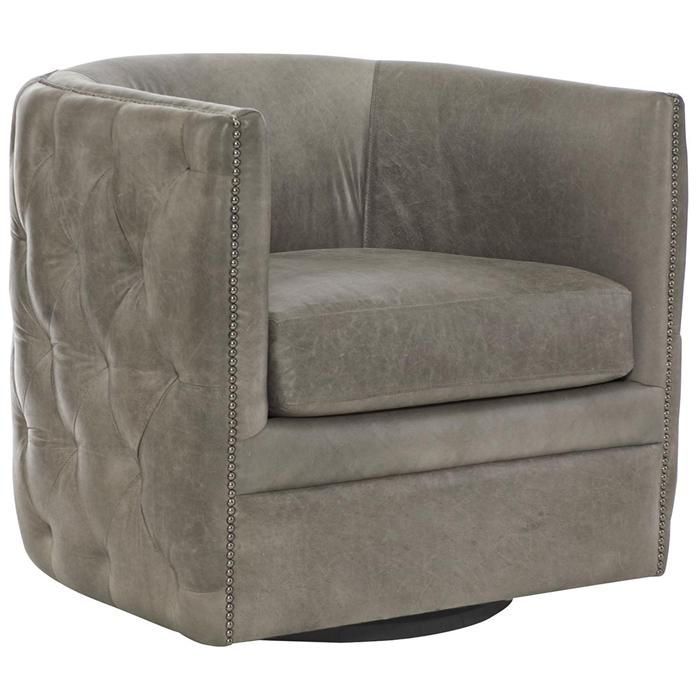 Leather Button Tufted Swivel Chair In Gray Nebraska Furniture Mart Leather Swivel Chair Round Swivel Chair Swivel Barrel Chair