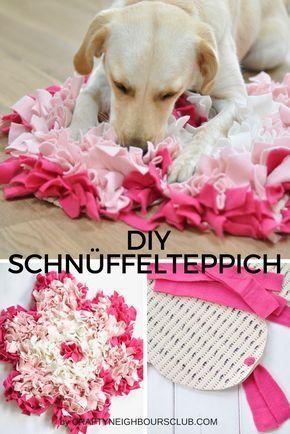diy schn ffelteppiche f r den hund selbstgemacht als pfote und bl te schn ffelteppich selber. Black Bedroom Furniture Sets. Home Design Ideas