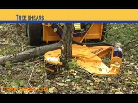 QUICK ATTACH POWER AXE TREE SHEAR SKID STEER ATTACHMENT - YouTube