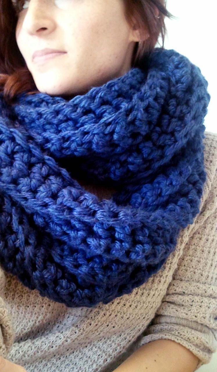 Chunky Blue Cowl Crocheted Using Lion Brand Hometown Usa