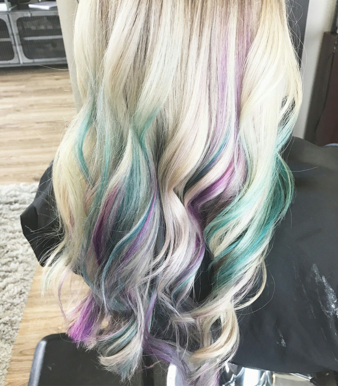 Balayage With Dark Purple Teal And White Streaks Ombre Hair Color Purple Ombre Hair Coachella Hair