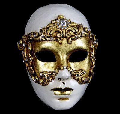 Antique Shine Gold Full Face Venetian Elegant Theater Drama Mask