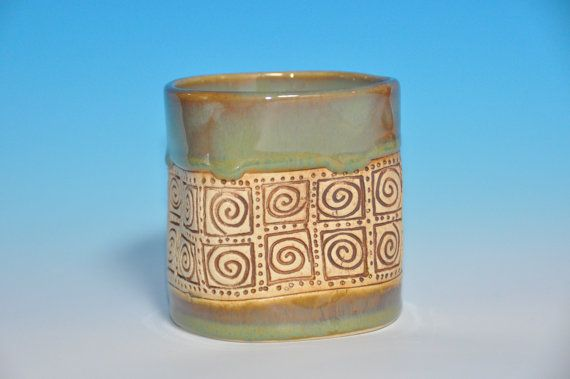 Jade green ceramic tumbler cup for coffee or by HenrietteStudio, $23.00