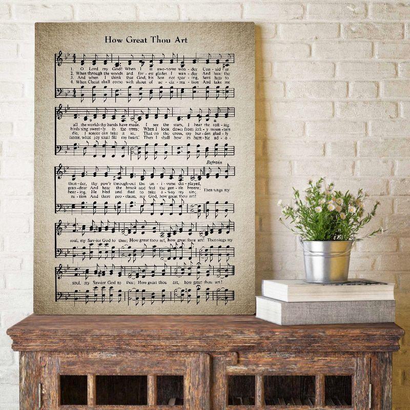 How Great Thou Art Hymn Wall Art Canvas Painting Pictures Vintage Sheet Music Posters Prints Hymnal Sheet Gift Home Wall Decor Hymn Wall Art Wall Art Canvas Painting Vintage Sheet Music