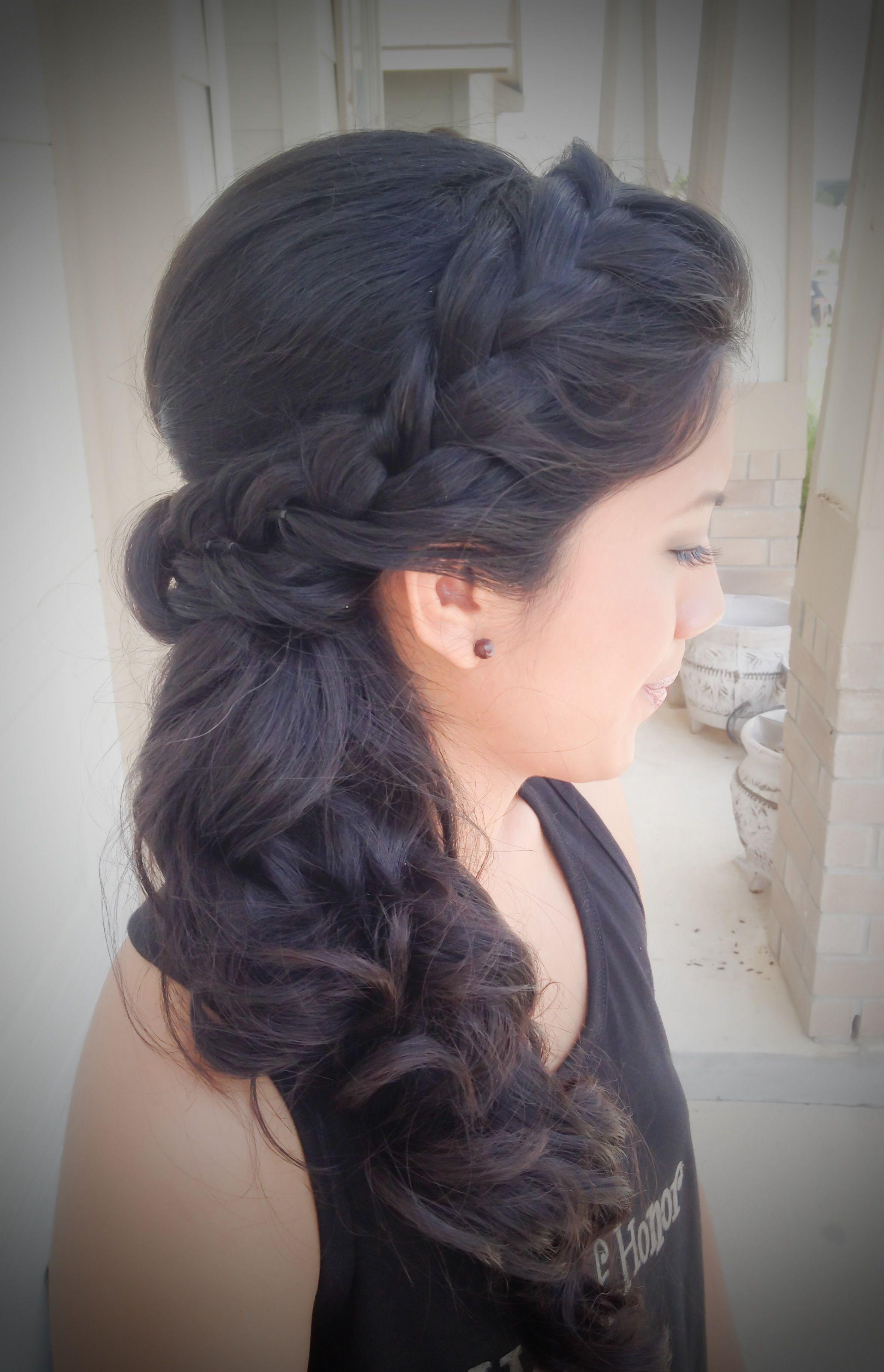 san antonio, tx. wedding hair; side braid; side ponytail www