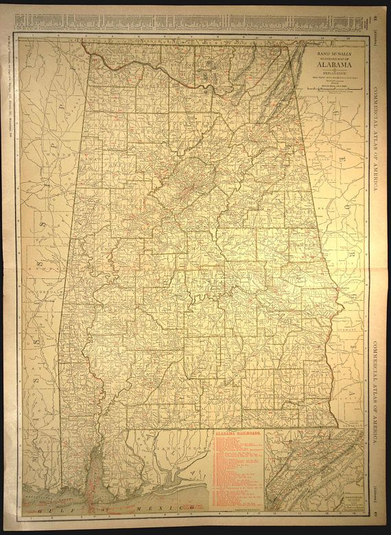 Alabama Map EXTRA LARGE Alabama Railroad Map Wall Art   Map Wall ...