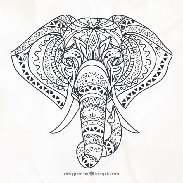 Main éléphant dessiné dans un style ethnique | Hand drawn, Mandala ...
