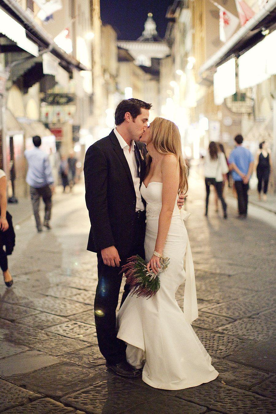 Wedding Rings Bride In Nicole Miller Dakota Dress Groom They Look Like Ryan Reynolds And Blake Lively