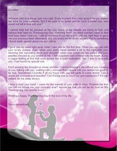 Romantic Thanksgiving Love Letter  Robin