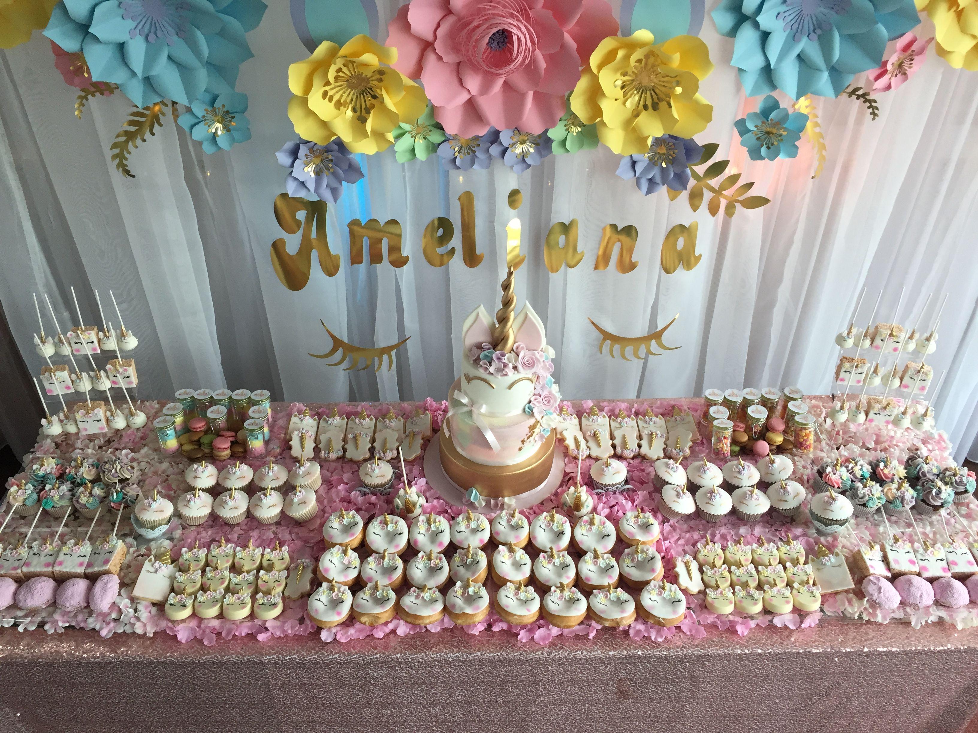 Pin By Ritesh Mohta On Decor Unicorn Birthday Cake Dessert Table Birthday Party Unicorn Cake Decorations