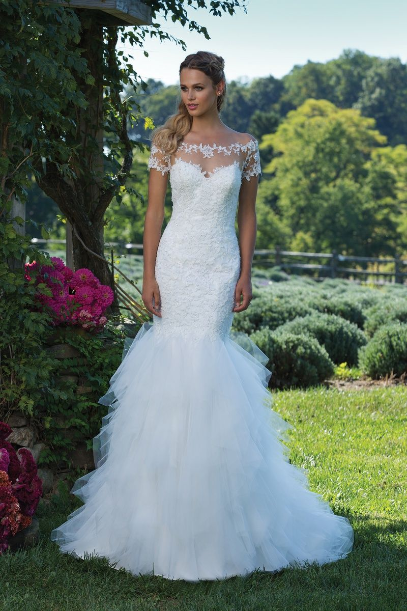 Sincerity Bridal Beaded Lace Off the Shoulder Gown with Handkerchief ...