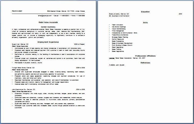 Retail Sales associate Resume Example Inspirational Resume