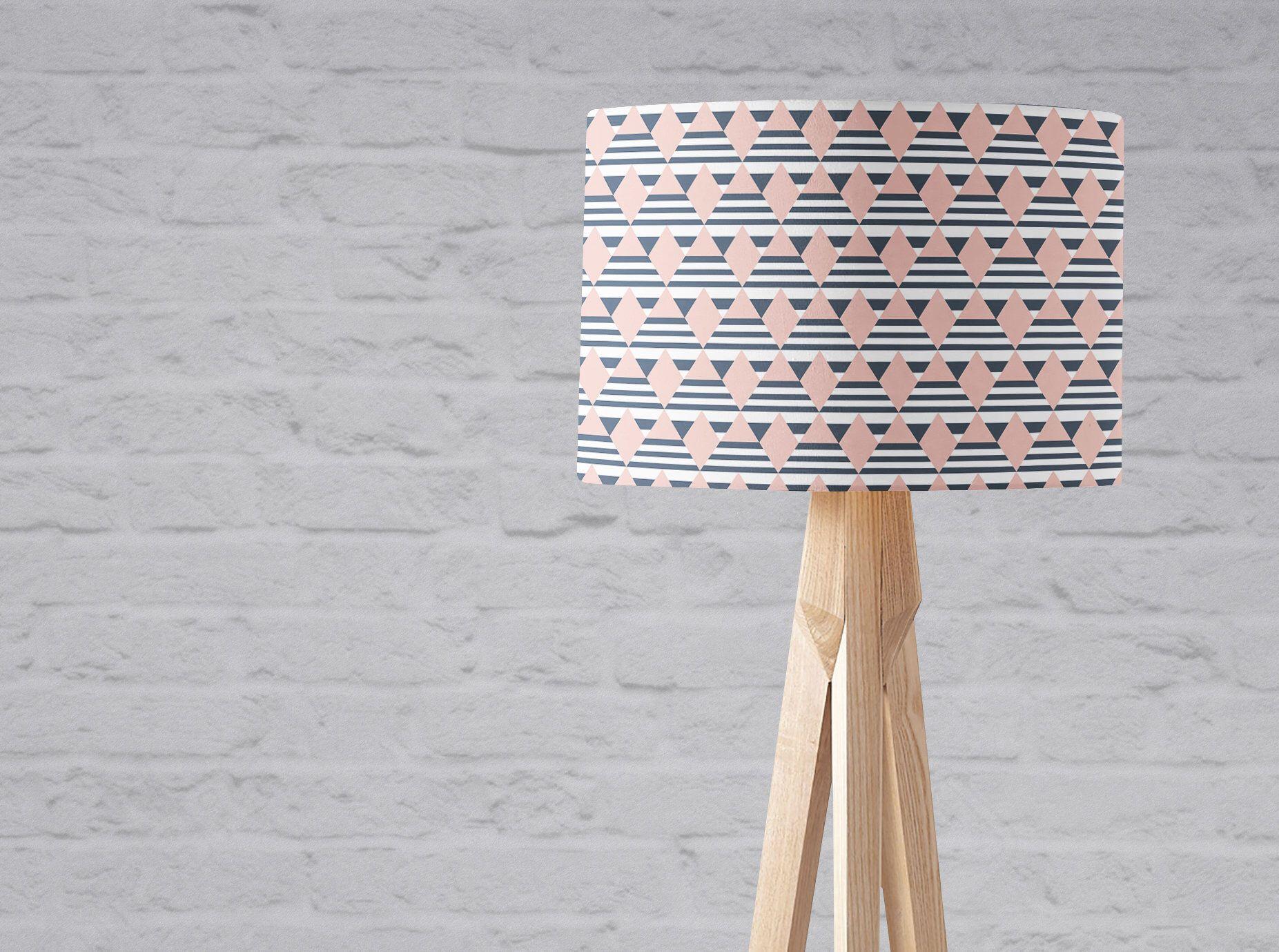 Pink And Navy Decor Pink Lamp Shade Geometric Lampshade Navy