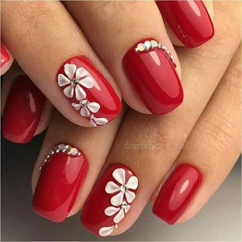 valentines  red acrylic nails floral nail designs