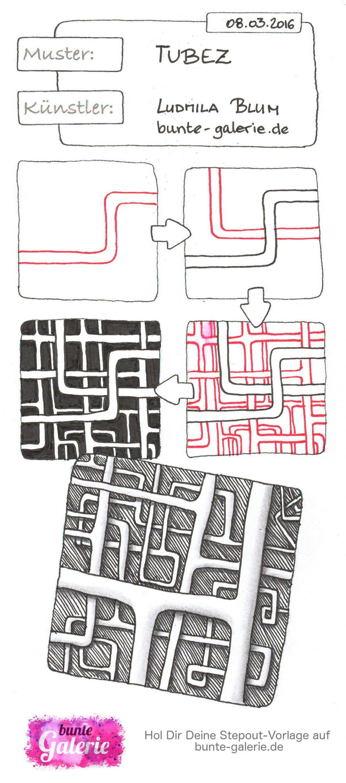 Stepout für Zentangle Muster Tubez von Ludmila Blum Tuber / tubez ...