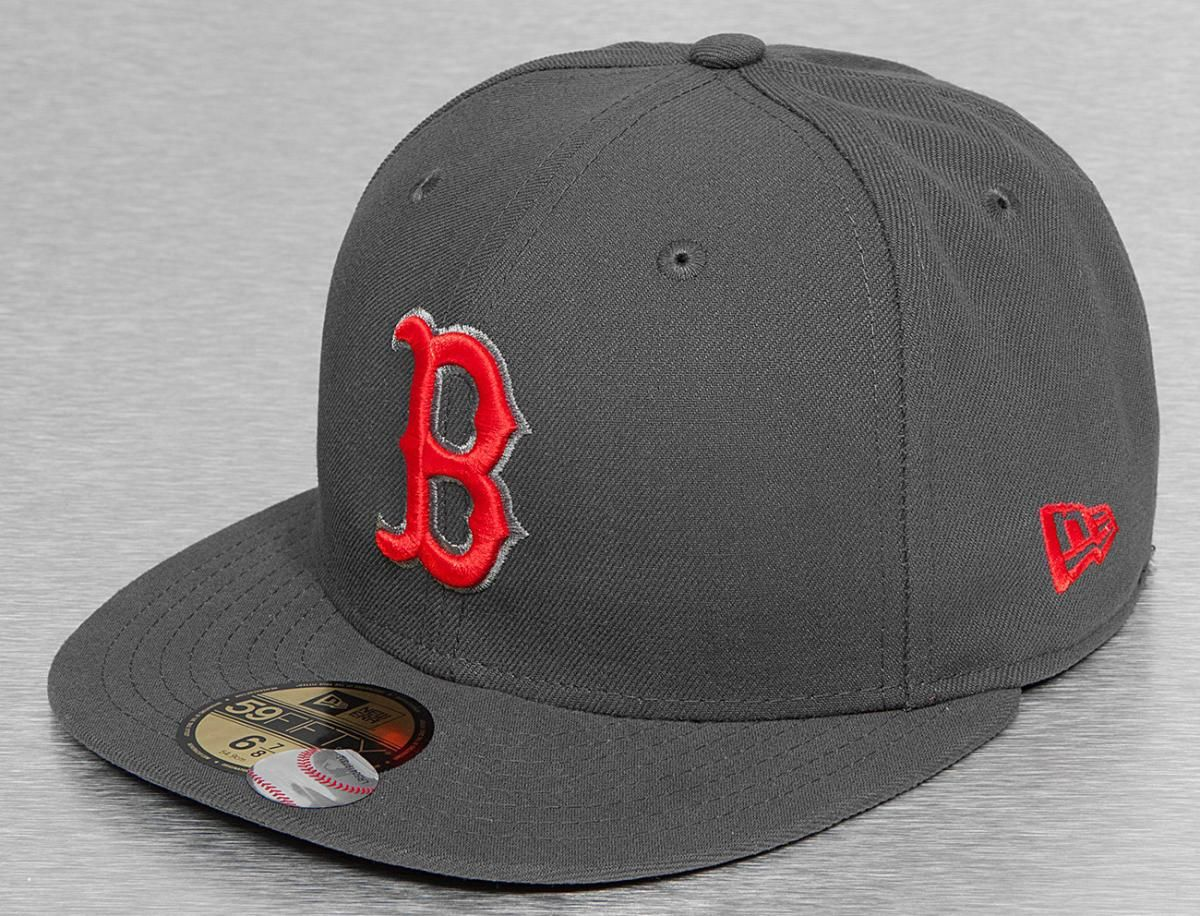 58d96d8859d4b4 Custom Boston Red Sox Grey-Hot Red Seasonal Contrast 59Fifty Fitted  Baseball Cap by NEW ERA x MLB