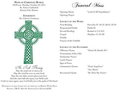 Image result for catholic funeral program template Funeral