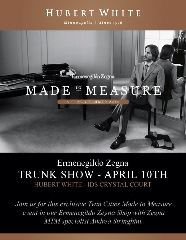 1864d2ca03 Zegna trunk show next Thursday! Join us for this exclusive Twin ...