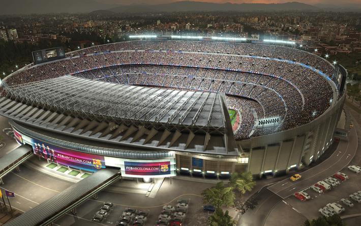 Download wallpapers PES 2018, Camp Nou, football stadium, Catalonia, Spain, Pro Evolution Soccer, 2018, football simulator, Barcelona