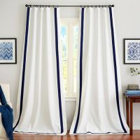 White Drapes With Navy Trim White Drapery Panels Pottery Barn