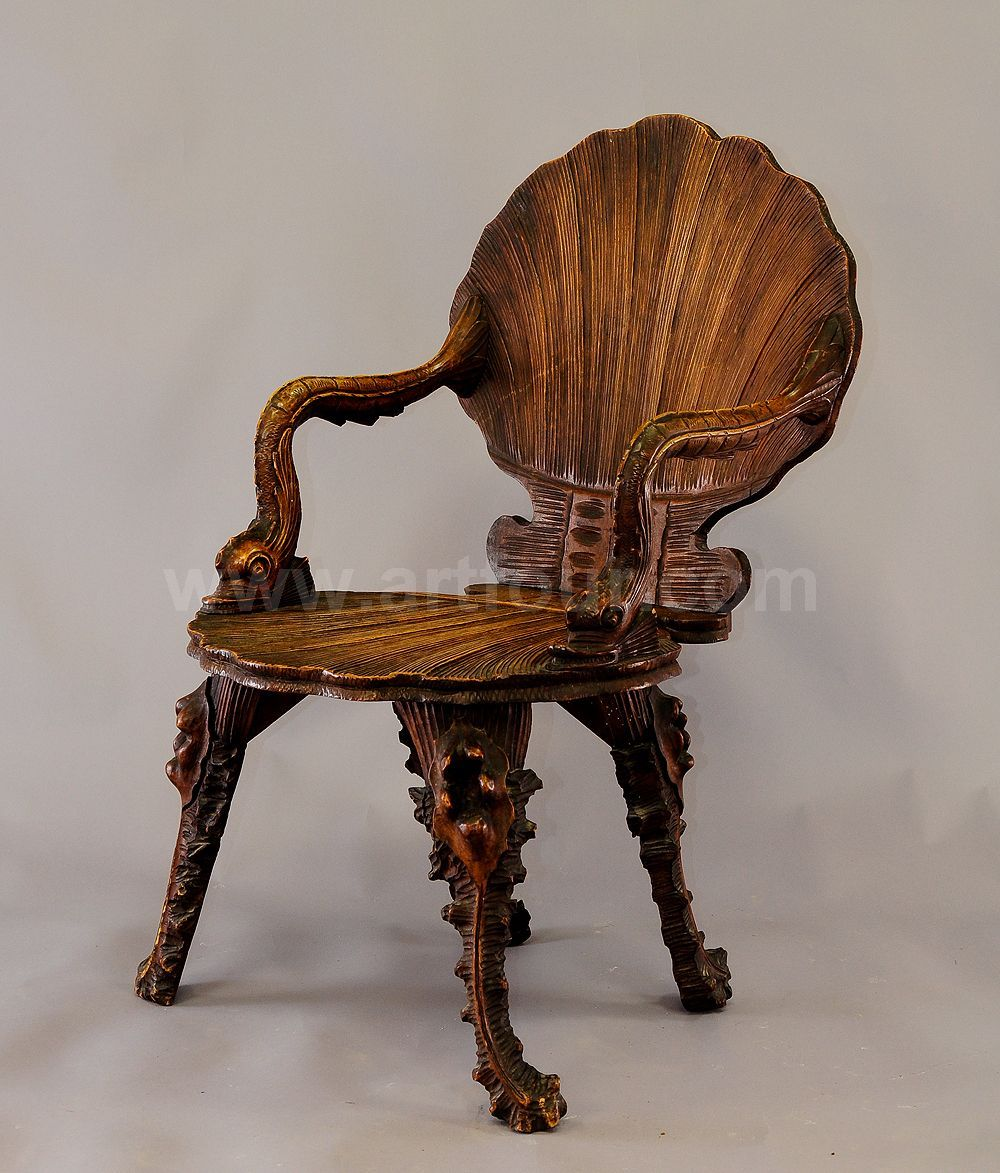 Antique wooden chairs with arms - Antique Wooden Carved Grotto Armchair Ca 1880 Antique Carved Walnut Armchair In Grotto Design