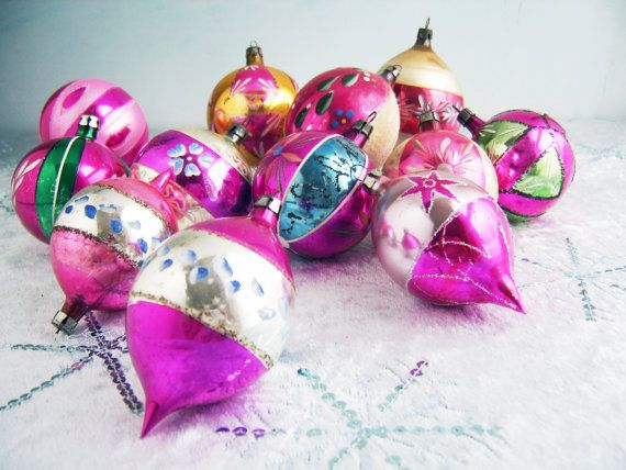Polish Fantasia Ornaments, Raspberry Pink Glass Ornaments, Mercury - polish christmas decorations