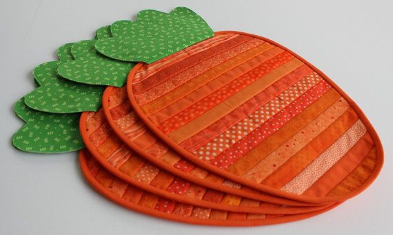 Easter Placemats Carrot Placemats Easter Table Quilted Placemats Table Setting Spring Decor Easter Placemats Place Mats Quilted Mug Rug Patterns