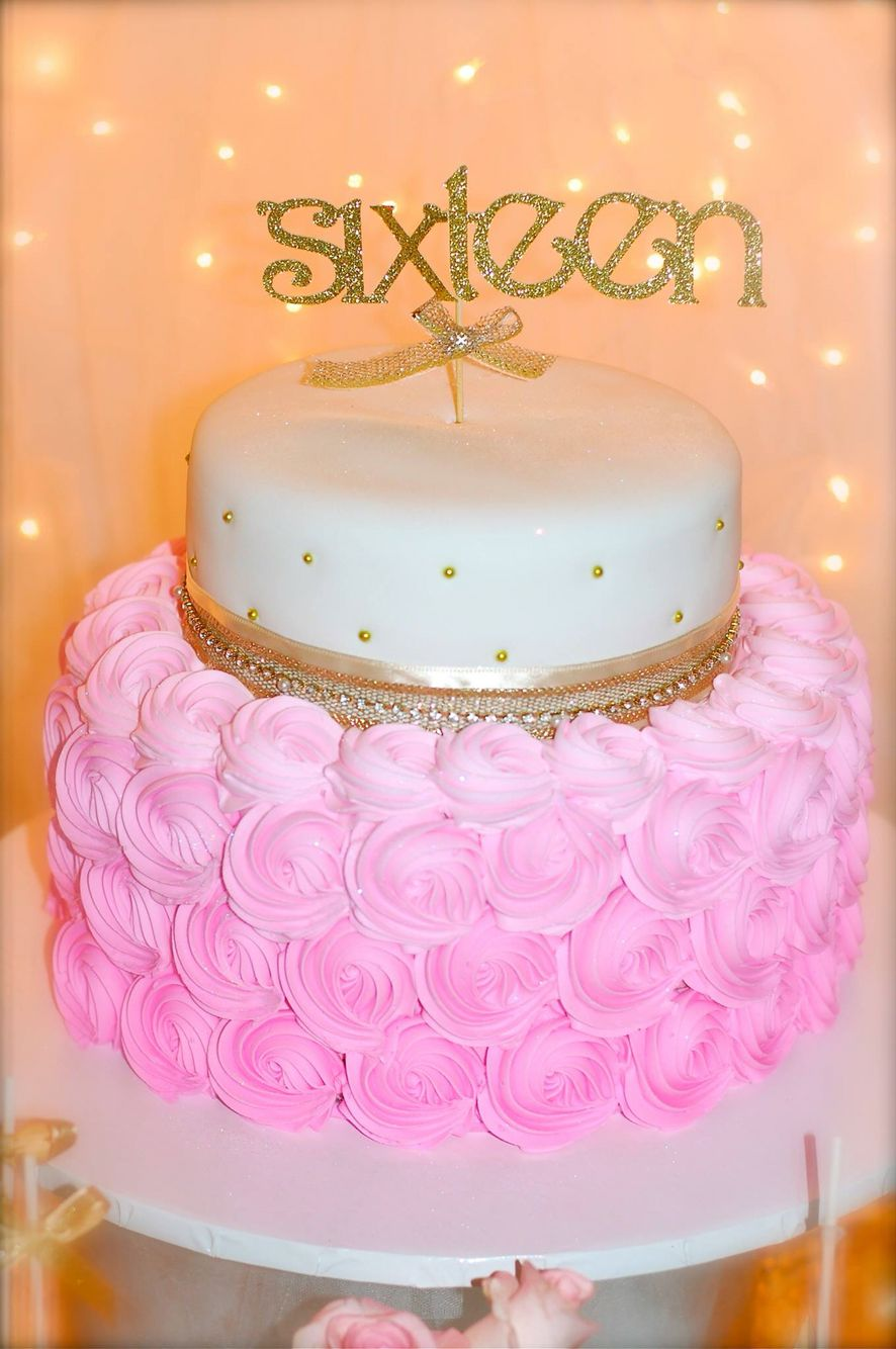 Sweet 16 Pink And Gold Double Layer Cake Sweet16 Pinkgoldcake Sixteen