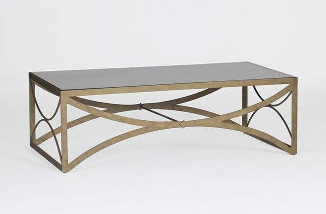 Transitional Metal Coffee Table Bernard Gold Base Mirror Top Gabby Sch 250235 W 54 D