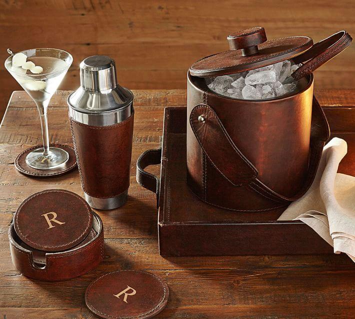 Saddle Leather Lidded Ice Bucket & Tongs