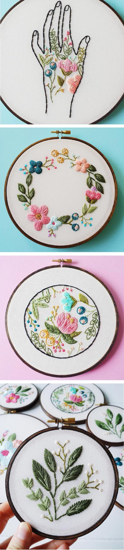 Cinder honey embroiders vibrant flowery hoop art