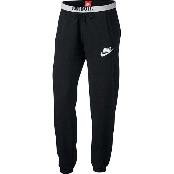 e1e6d195944 NIKE Womens Rally Loose Sweatpants Pants Black White ( 50) ❤ liked on Polyvore  featuring activewear