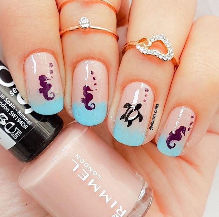 Love these nude ombré nails by @charm.nails using our Seahorse & Hawaiian Sea Turtle Nail Decals both found at snailvinyls.com