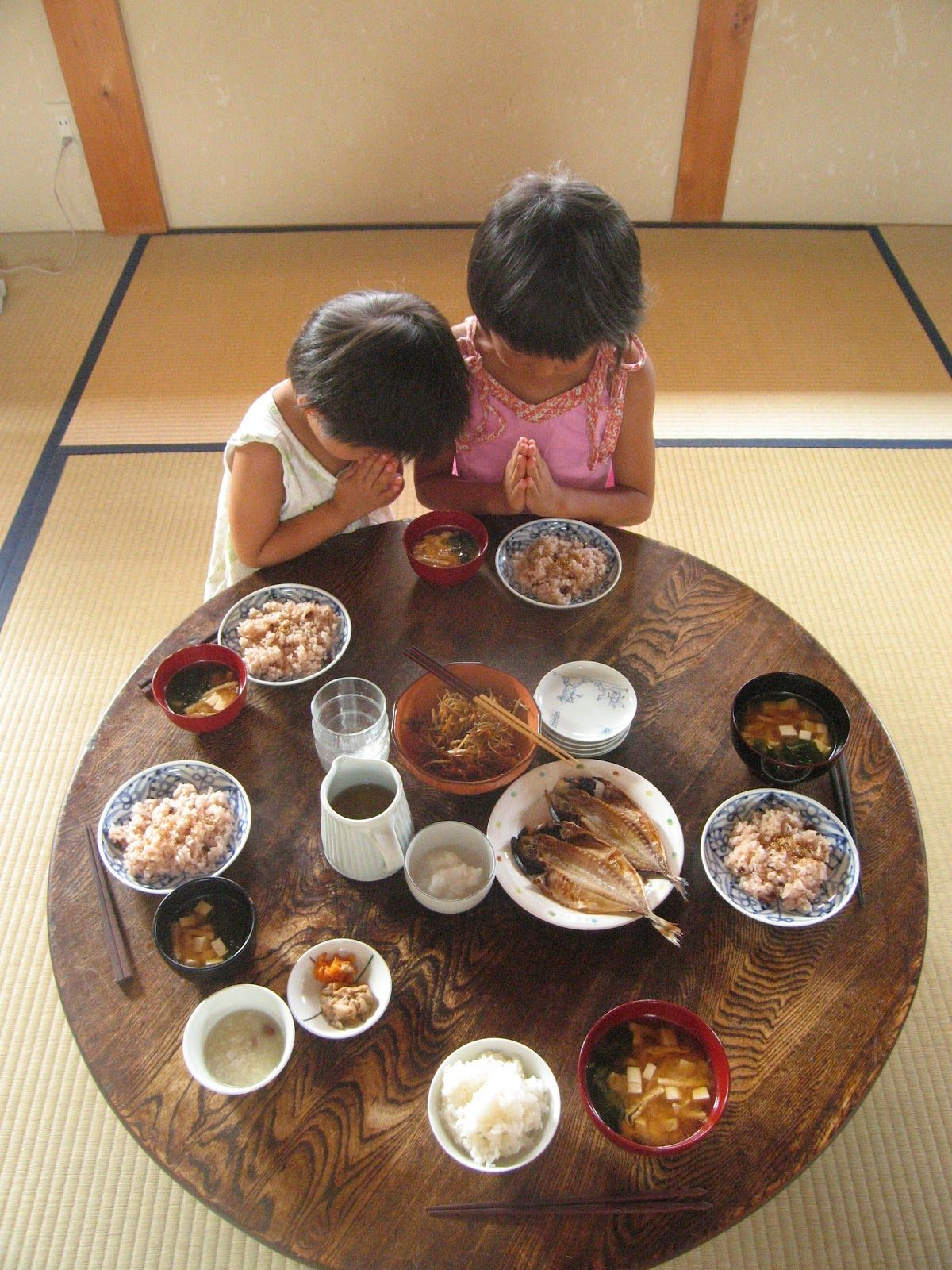 Traditional Japanese Meals on Chabudai Low Dining Table in a