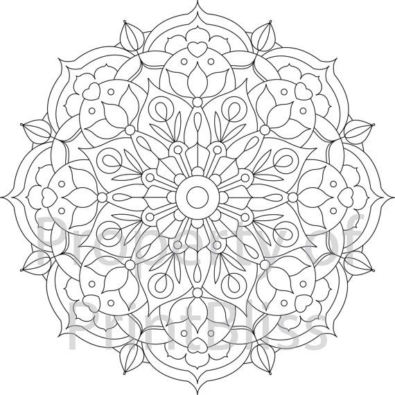 18 flower mandala printable coloring page by printbliss on etsy art my work pinterest. Black Bedroom Furniture Sets. Home Design Ideas