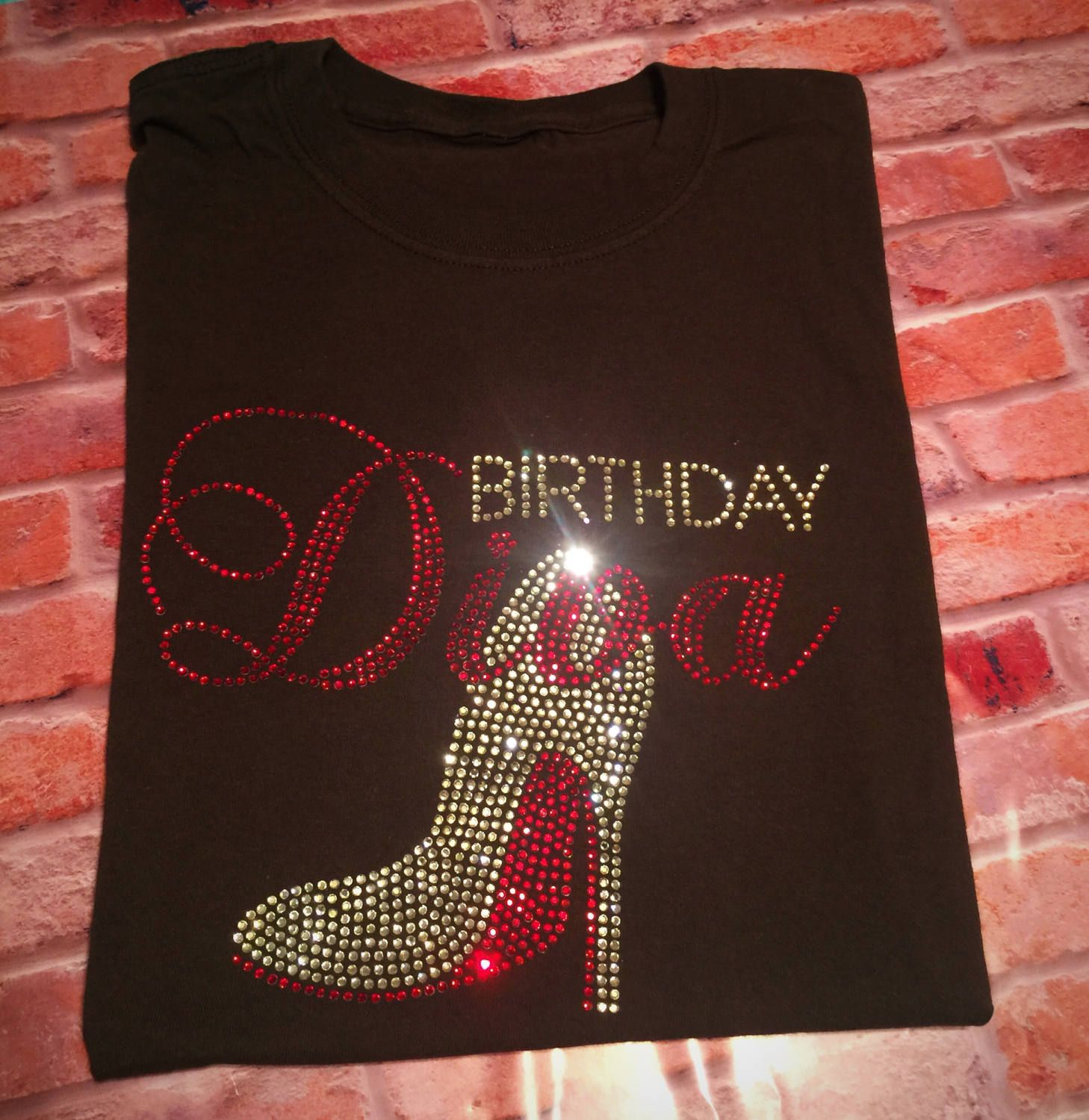 4b46f30b0 Women's Birthday Diva Shirt, Women's Birthday Tshirt, Birthday tees,  Rhinestone Birthday Bling, Squad Goals, Gifts for wife, Diva by  TheKnottyKrafter on ...