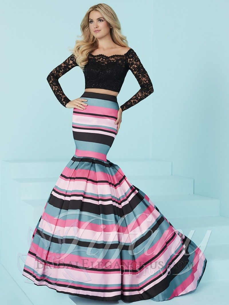 H.O.W. Tiffany 16201 is a TWO PIECE LONG DRESS: 70. Scalloped boat ...