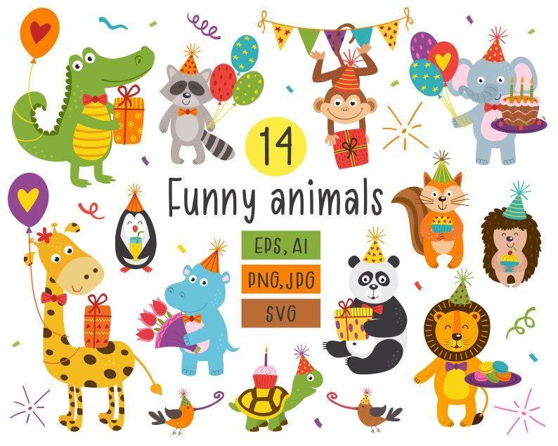 Birthday Clipart Animals Clipart Birthday Seamless Pattern Etsy Happy Birthday Clip Art Funny Birthday Cards Birthday Clip Art