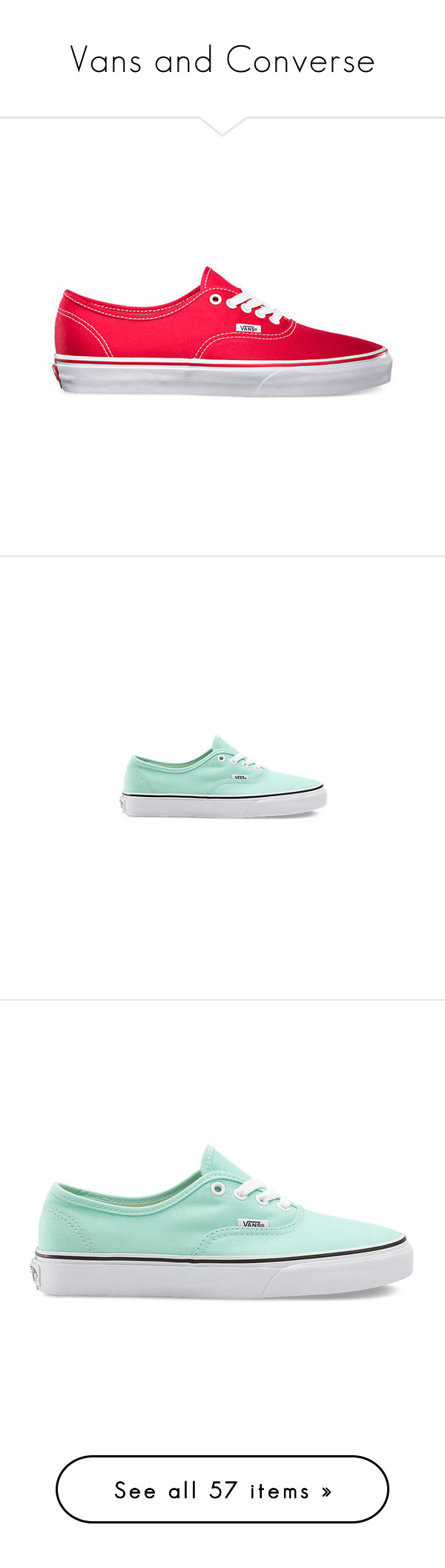 """Vans and Converse"" by squidfashion ❤ liked on Polyvore featuring shoes, sneakers, vans, red, lace up sneakers, vans trainers, canvas lace up sneakers, laced sneakers, low profile sneakers and vans sneakers"